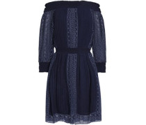 Off-the-shoulder broderie anglaise-paneled striped pleated woven mini dress