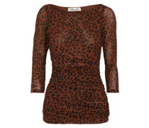 Ruched Leopard-print Stretch-mesh Top Brown