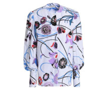 Embellished floral-print stretch-cotton poplin shirt