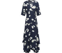 Total Eclipse Floral-print Crepe De Chine Midi Wrap Dress Midnight Blue