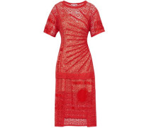 Picot-trimmed embroidered cotton-blend lace midi dress
