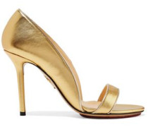 Metallic Leather Sandals Gold