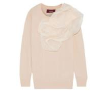 Woman Awa Silk Organza-appliquéd Wool-blend Sweater Blush