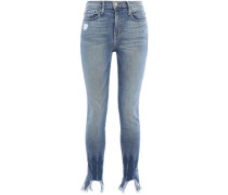 Le Skinny De Jeanne Cropped Distressed High-rise Skinny Jeans Light Denim  9
