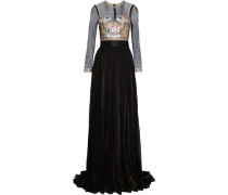 Jocelyn embroidered tulle-paneled pleated silk-chiffon gown