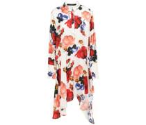 Asymmetric Floral-print Satin Dress Ivory