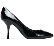 Croc-effect patent-leather pumps