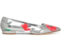 Floral-print mirrored leather slippers