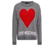 Bouclé-appliquéd Intarsia-knit Sweater Gray