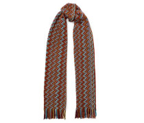 Fringed crochet-knit wool-blend scarf