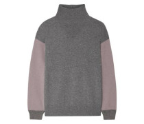 Two-tone Cashmere Turtleneck Sweater Dark Gray