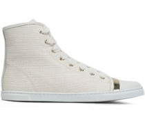 Leather-paneled Metallic-trimmed Grosgrain Sneakers Ivory