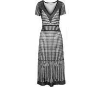 Crochet-knit Midi Dress Black