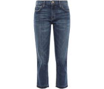 Cropped Frayed Faded Mid-rise Straight-leg Jeans Mid Denim  3