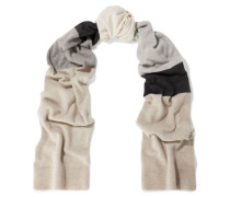 Ama Color-block Cashmere And Wool-blend Scarf Neutral Size --