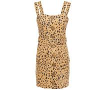 Belted Leopard-print Tencel-blend Mini Dress