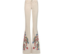 Ryley embroidered mid-rise bootcut jeans