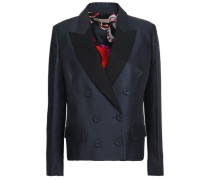 Satin-trimmed Wool And Silk-blend Twill Blazer Navy
