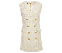 Woman Button-embellished Bouclé-tweed Mini Dress Ecru