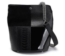 Woman Genesis Chain-trimmed Paneled Leather Bucket Bag Black