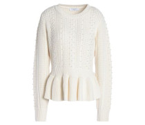 Rickie beaded cable-knit peplum sweater