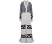 Lace-paneled Silk-blend Crepe De Chine Gown Light Gray