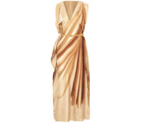 Belted draped printed silk maxi dress