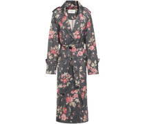 Floral-print Wool-blend Twill Trench Coat Dark Gray