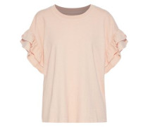 The Carina Ruffle-trimmed Cotton-jersey Top Pastel Pink