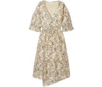 Anichka Wrap-effect Floral-print Cotton And Silk-blend Voile Midi Dress Cream Size 0