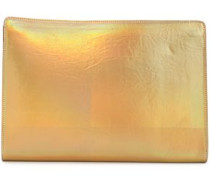 Iridescent Faux Leather Clutch Gold Size --