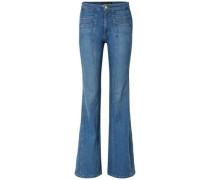 Farrah Paneled High-rise Flared Jeans Light Denim  4