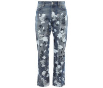 Cropped Metallic Printed High-rise Straight-leg Jeans Mid Denim  8