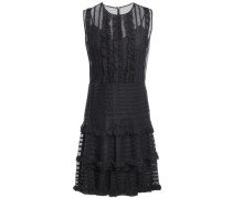Woman Ruffled Georgette And Tulle Mini Dress Black
