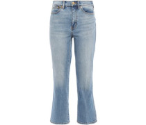 Woman Cropped Faded High-rise Bootcut Jeans Mid Denim