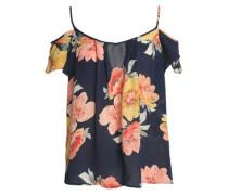 Cold-shoulder floral-print silk crepe de chine top
