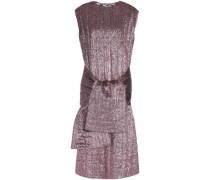 Tie-front Textured Silk-blend Lamé Midi Dress Rose Gold