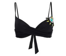 Embellished Push-up Bikini Top Black Size I