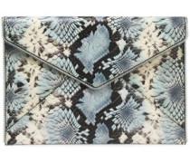 Zip-embellished Floral-print Snake Effect-leather Envelope Clutch Animal Print Size --