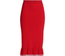 Striped cotton fluted midi skirt