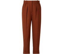 Woman Cropped Pleated Grain De Poudre Wool Tapered Pants Brown