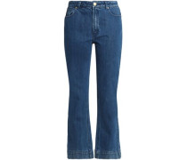 Cropped High-rise Flared Jeans Mid Denim