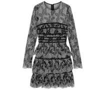 Tiered Cotton-blend Lace Mini Dress Black