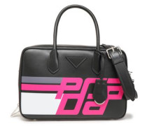 Printed Leather Shoulder Bag Black Size --