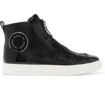 Beekman patent and snake-effect leather high-top sneakers