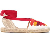 Jean Grosgrain-trimmed Cotton-canvas Espadrilles Tomato Red