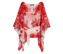 Draped printed silk-chiffon blouse