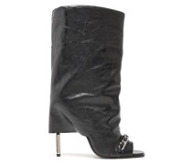Chain-trimmed Leather Boots Black