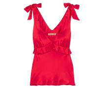 Bow-detailed Ruffled Silk-satin Camisole Red