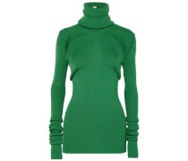 Ribbed-knit Turtleneck Sweater Green